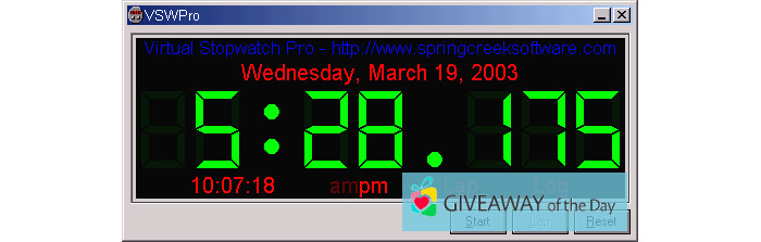 Download Virtual Stopwatch Pro 2019 for Windows | Giveaway